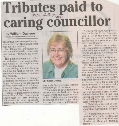 Tribute to Cllr Carol Godley, Godmanchester.  (source Town Crier.)
