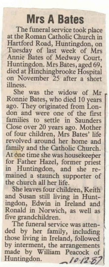 Obituary - Mrs.A.Bates.