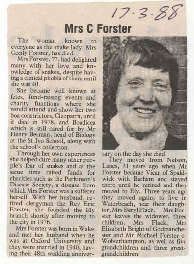 Obituary - Mrs.C.Foster - 'The Snake Lady'.
