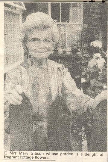 Mary Gibson who lived in Merritt Street, Huntingdon. 1985. ( source - Huntingdon Weekly News.)