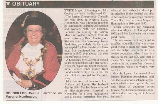 Obituary of Councillor Cecillia Lawrence former Mayor of Huntingdon. ( source - Hunts Post.)