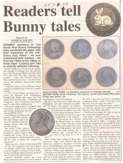 The continuing saga of the Hunts Post Bunny Fellowship. ( source - Hunts Post.)