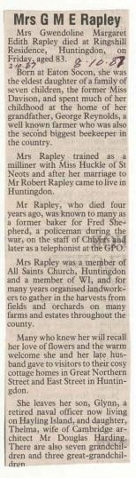 Obituary of Mrs Rapley.