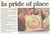 Cross stitch tapestry depicting the Huntingdon 800 logo on the occasion of the Princess Royal's visit. ( source - Town Crier.)