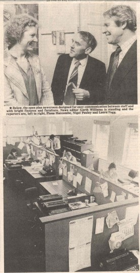 Jim King, Carole Walsh and Neil Graham - Cameron [top picture] on a tour of the renovated Cowper House  Huntingdon. ( source - Hunts Post. )