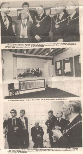 Meeting of the Mayors in renovated Cowper House with architect Stephen Mullins and Lord's Renton and Hemingford. ( source - Hunts Post.)