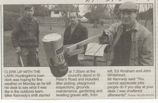 Mike Kennedy, Huntingdon's Town Clerk, out with the outdoor team of council workers. ( source - Hunts Post.)