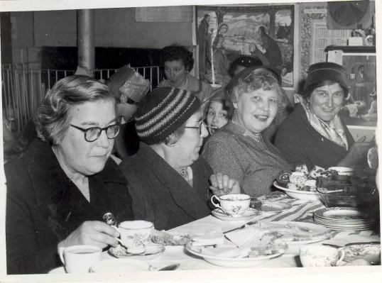 Adults at Christmas party at Hartford Sch. Left - Miss Kath Hibbert, Miss Beat(rice) Hibbert, -----'Granny Bath'. Back - Mrs.Peter Bath.