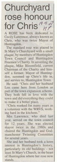 Obituary of Chris Lawrence and rose bush planting in St Mary's churchyard, source Hunts Post.