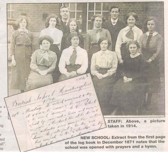 Staff of the British School Huntingdon in 1914.(source Hunts Post)