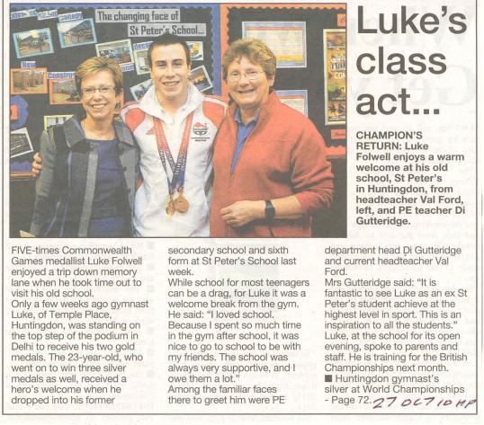 Luke Folwell returns to St Peters School.Source Hunts Post.
