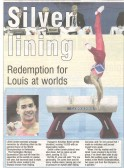 Louis Smith showing off his silver medal.Source News and Crier.