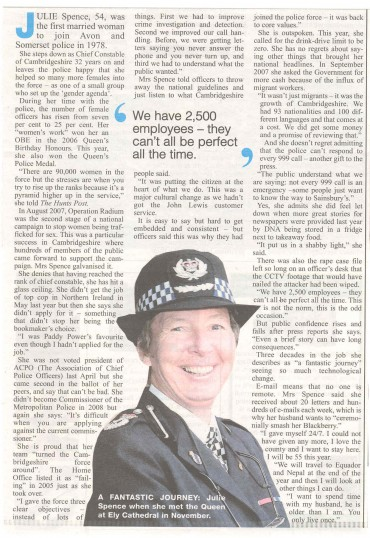Chief Constable of Cambridgeshire, Julie Spence retires after 32 years.Source Hunts Post.