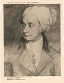 Portrait of William Cowper who resided at Cowper House Huntingdon. ( ( National Portrait Gallery. Drawing - George Romney.) Note -  postcard pre-1950.