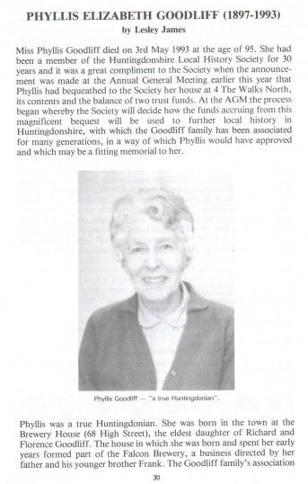 Obituary of Phyllis Goodliff.Goodliff Archive.