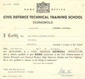 Certificate for Civil Defence training as an instructor.Source Goodliff Archive.