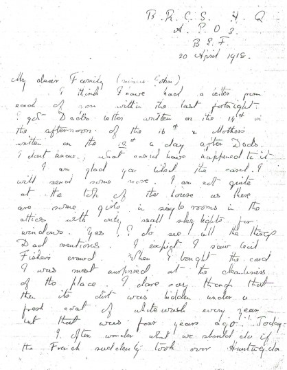 20th April 1918 letter from Phyllis to the family minus John.Source Goodliff Archive.