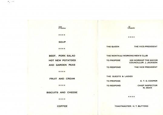 Montagu Working Men's Club Annual Dinner 1980.