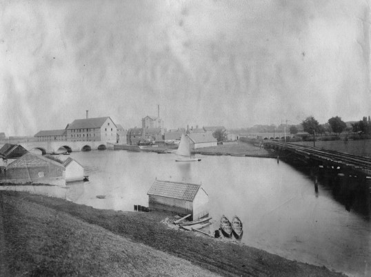 Huntingdon bridges from Castle Hills c1880s