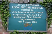 Plaque for the Nature Reserve