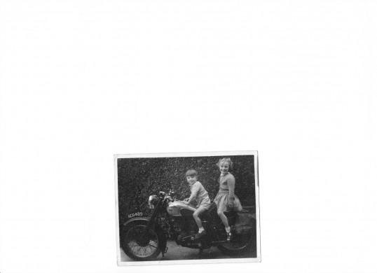 Ian and Amanda Martin on Bill Longstaffs BSA Motorbike.