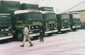 W B Cambers & Son lorry park in Main street Little Downham.  Stan Conew and Vic Fuller going to work.