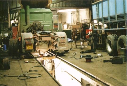 W B Chambers & Son Little Downham.  Inside of vehicle workshop.