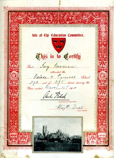 School Attendance Certificate for Ivy Norman.