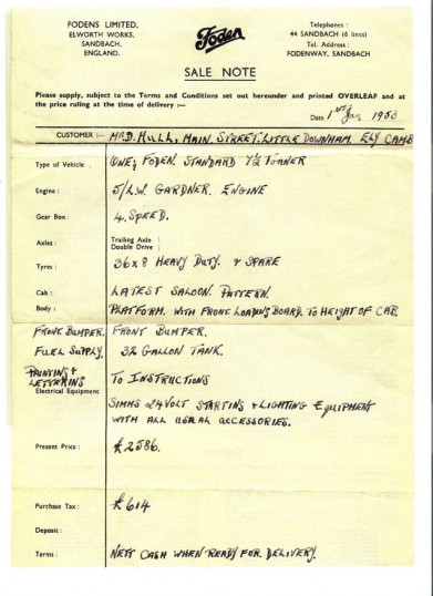 Foden lorry invoice to Don Hull, Little Downham