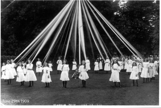 Maypole dancers in rectory garden.