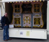 'Organs & Bygones' visitor, organ builder Alan Pell, in front of one of his constructions.