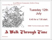 Flyer for escorted walk. Conducted by Roger Martin and organised by Local History Group.