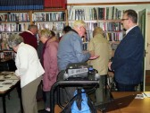 Woodcut artist and printer Andy English at an Archive group open evening.