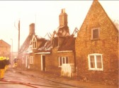 16th Century building on fire, Main Street, Little Downham.