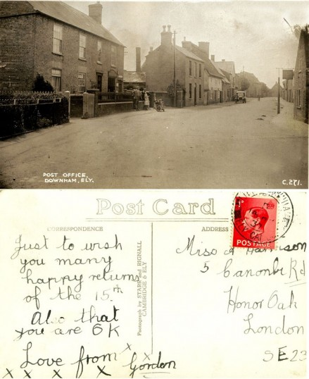Postcard, showing Main Street, Little Downham.. This postcard was sent by local resident Harrison, Gordon..