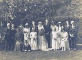Les Green's  Wedding, Little Downham.. On the back of the photo the words Wood Green Family,..