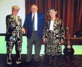 Chairman and guests at Good Companions Christmas dinner.. The picture shows chairman Cyril Heaps with guests of..