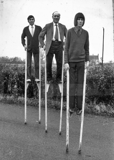 Stiltwalking, Little Downham.. Stiltwalking was, historically, a way of getting about..