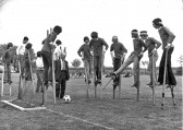 Stilt football at Little Downham.
