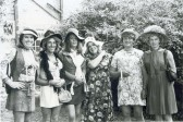 Charity 'Beauty' Contest, Little Downham.. This 'chorus line' was photographed at the Garden Fete in..