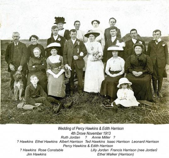 Wedding of Percy Hawkins and Edith Harrison, Little Downham.