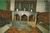 Fire damage to alter at St Leonards.