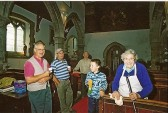 Cleaning after arson attack at St Leonards church.. The picture shows  (L to R), John Murfitt, verger Henry..
