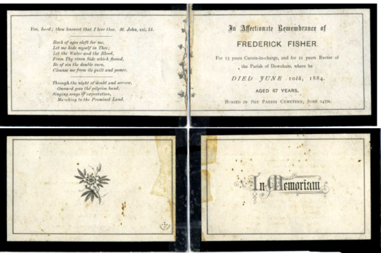 Funeral card, Rev. Fredrick Fisher.