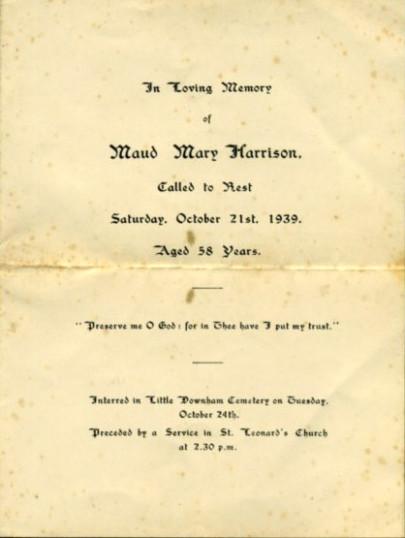 Funeral card, Maud Harrison.