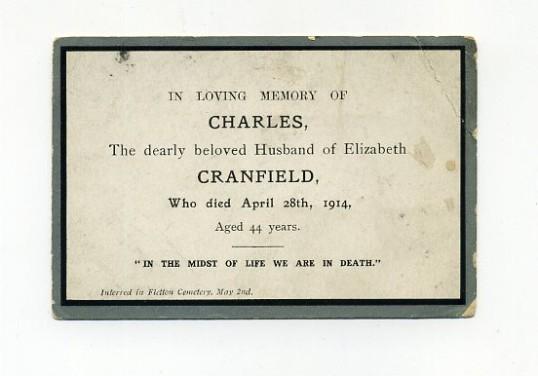 Memorial Card, Charles Cranfield.