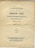 Memorial Card, Francis Cole.