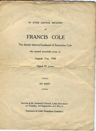 Memorial Card, Francis Cole.