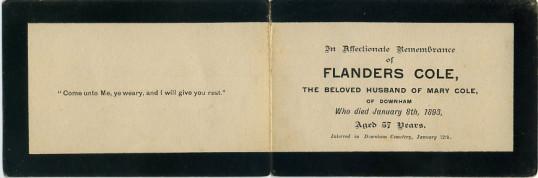 Memorial card, Flanders Cole.