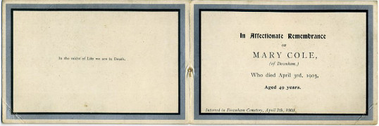 Memorial Card, Mary Cole